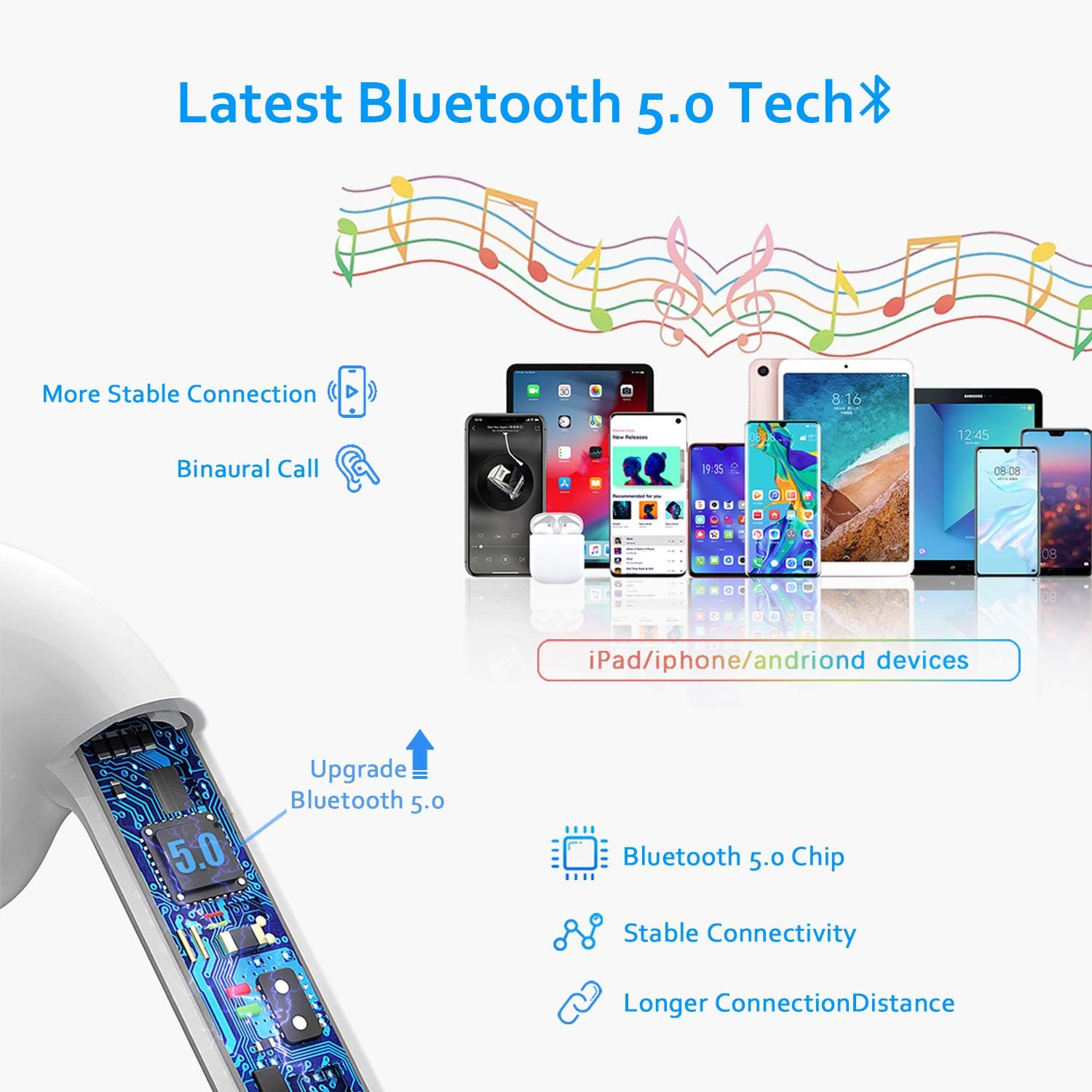in-Ear,/IPX5/Waterproof Bluetooth/5.0 Headphones,/Wireless/Touch/Earbuds/ 30H/Working-Time Noise/Cancellation,/Compatible with/iOS//Android /3D/Stereo/Sound for iPhone/Samsung/&nbs