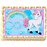 Unicorn With Rainbow Edible Frosting Sheet Cake Topper