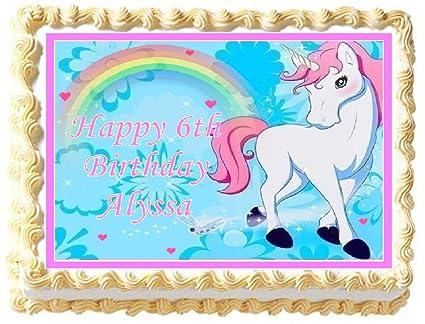 Amazoncom Unicorn with Rainbow Edible Frosting Sheet Cake Topper