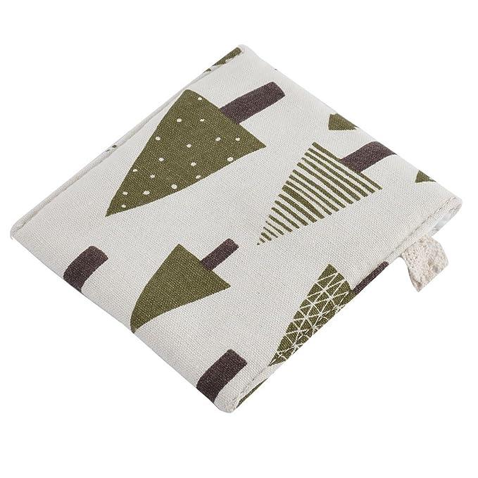 Amazon.com: eDealMax lino Rectangular Botón del Modelo de árbol Forma de cierre de la servilleta sanitaria del bolso del cojín: Home & Kitchen