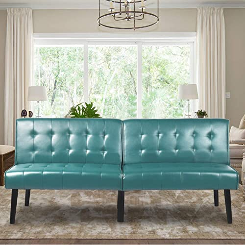 Aclumsy Futon Convertible Sofa Bed Loveseat Couch Faux Pu Leather