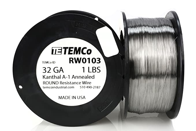 TEMCo Kanthal A1 wire 32 Gauge 1 lb (6473 ft) Resistance AWG A-1 ga ...