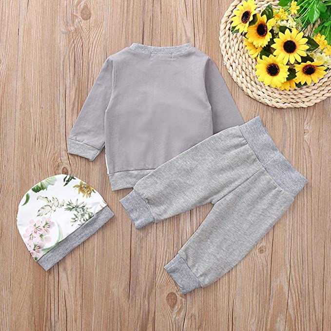 feiXIANG Conjunto de bebé Recién Nacido Bebé niño niña Niño Camiseta de Manga Larga con Estampado Floral Camiseta + Pantalones + Sombrero Conjunto de Tres ...