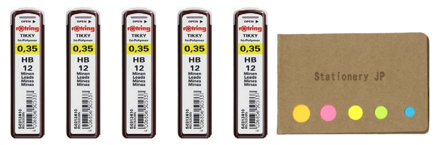 Rotring Tikky Mechanical Pencil Leads 0.35mm HB, 5 Pack/total 60 Leads, Sticky Notes Value Set