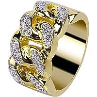 JINAO ストリートシーン 18Kゴールドメッキ キューバ リング キュービックジルコニア クラスター B系 オラオラ系 ヒップホップ リング Cluster Ring for Men