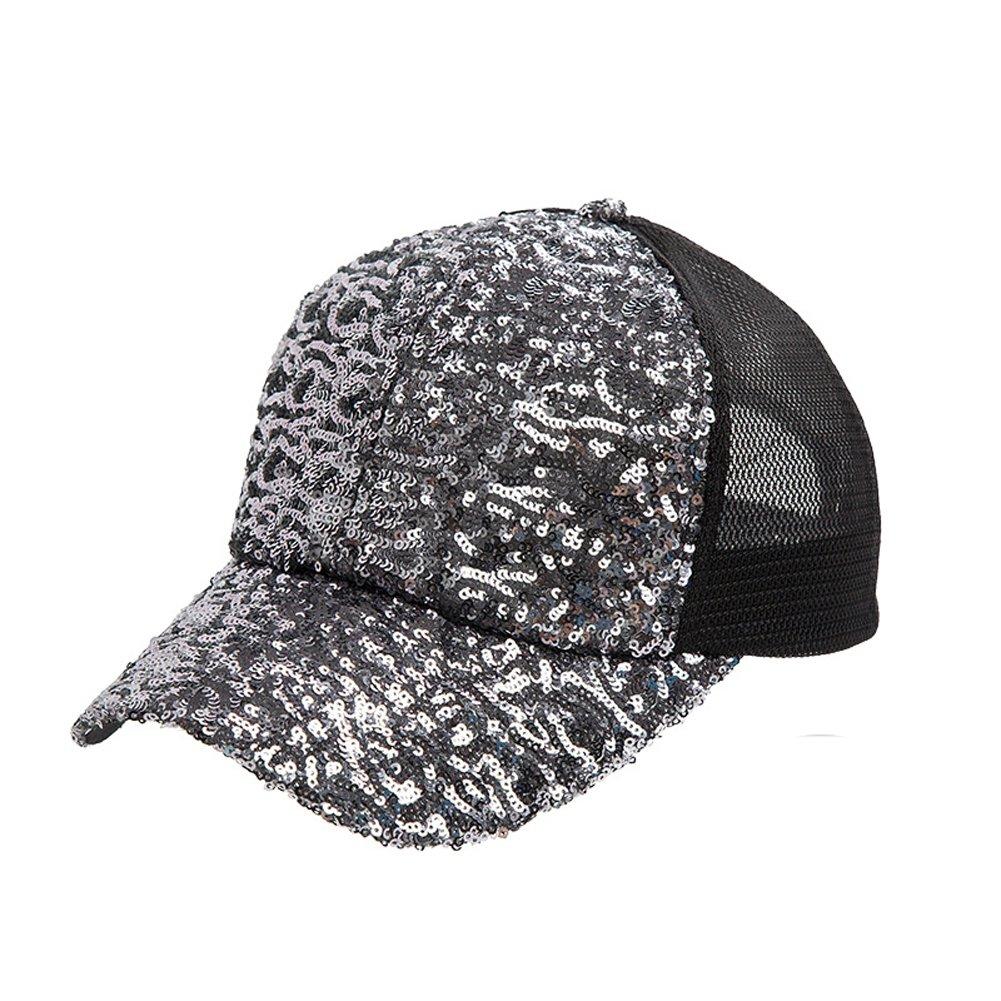 GUO - Hut Sommer Baseball Mütze Trend Mode Pailletten Ente Mütze Outdoor Hip Hop Hut Sonnenhut Sommer (grau)