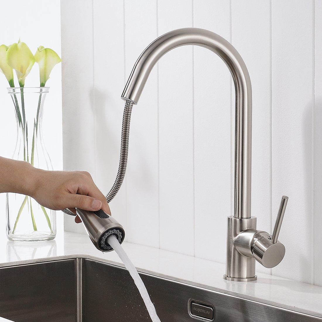 Timaco Wasserhahn Küche Gebürsteter Nickel Küchenarmatur Mit Brause Für  Küchen Spüle Armatur Küche: Amazon.de: Baumarkt