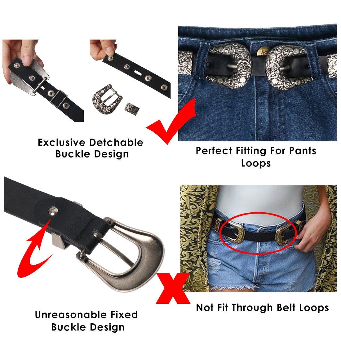 Wink Gal Women's Boho Metal Western Double Buckle Belt Sliver (Suit pants size 31''-34''(US size 12-16), Rivet Width Approx. 1'') by Wink Gal (Image #2)