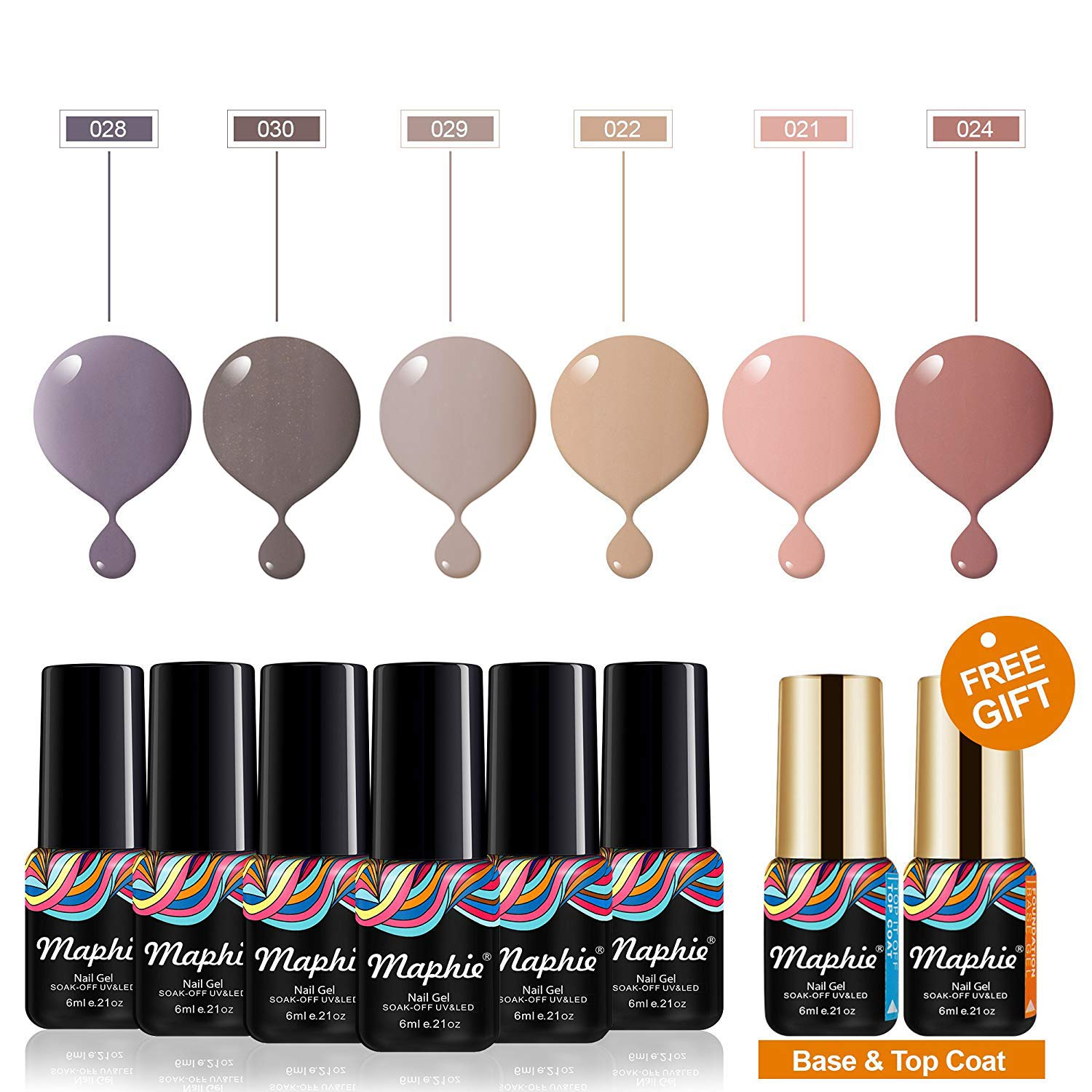 MAPHIE UV Nagellack Set Soak Off UV LED Gel Gellack 6 PZ Mit Kostenlos Top Coat Base Coat (6ml/pc)