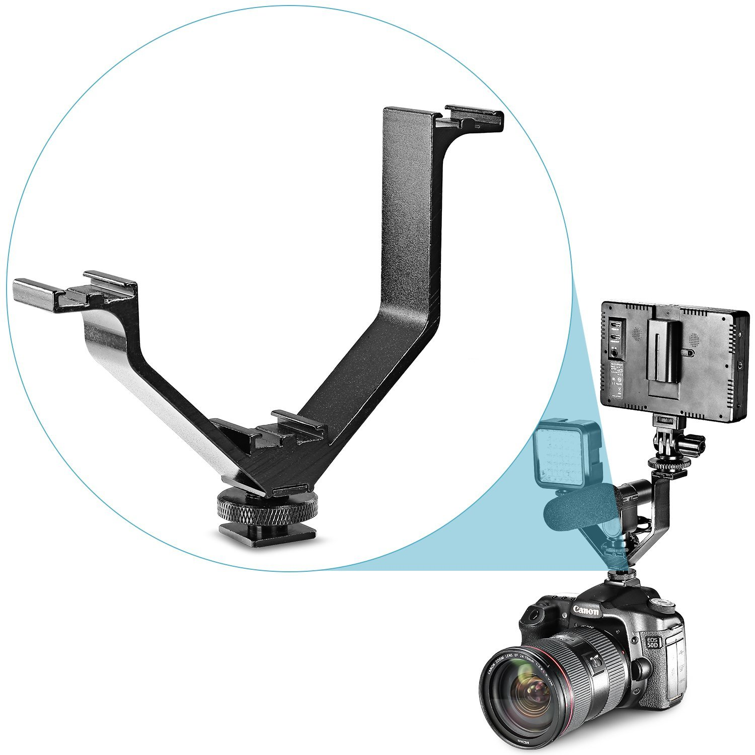 Neewer Aluminium Alloy 5''/12.5cm V-shape Triple 3 Universal Cold Shoe Mount Bracket for Nikon Canon Sony Pentax DSLR Camera or Camcorder Accessory Such as LED Video Light,Microphone,Monitor,Flash