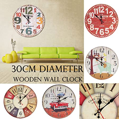 Amazon.com: FidgetFidget Wall Clock Large Vintage Wooden Kitchen Home Antique Style 5#Colorful Dial: Home & Kitchen