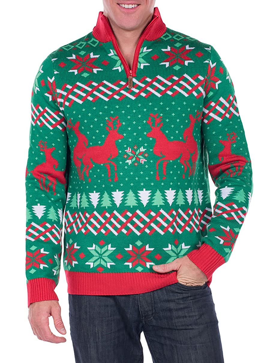 e27d89f6cd2d34 Amazon.com: Tipsy Elves Men's Christmas Passion Sweater - Humping Reindeer  Ugly Christmas Sweater: Clothing