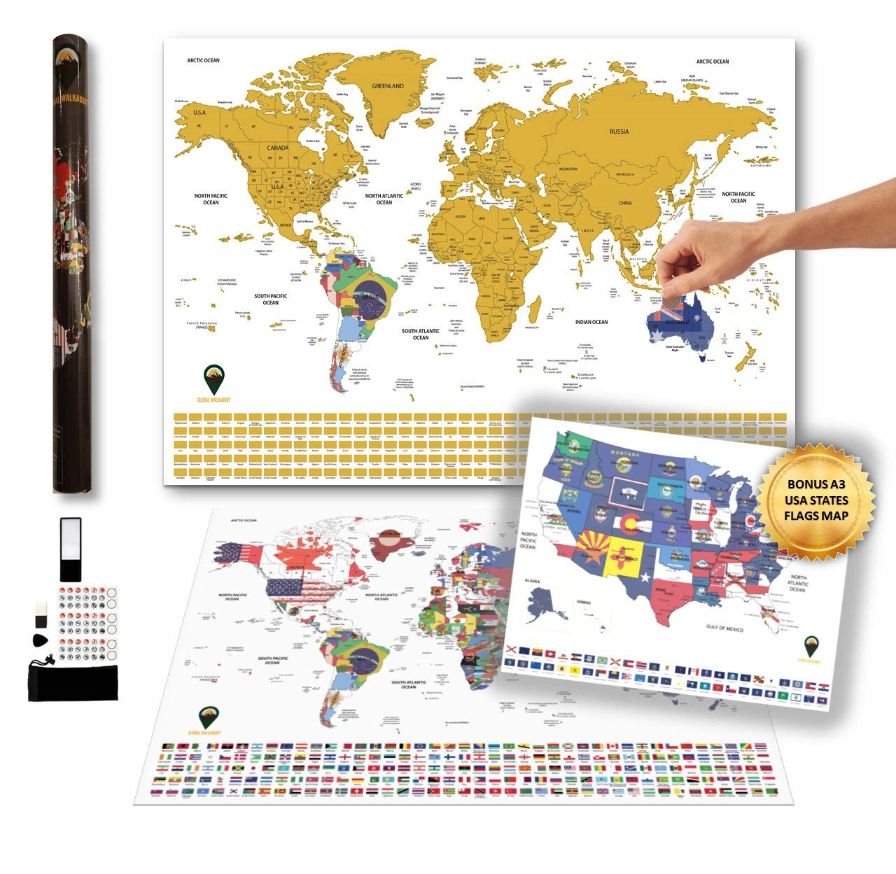 Scratch Off XXL World Flags Map with Bonus A3 USA map - Country/State Flags Under Scratch Off Areas – Countries, States and Accessories – Travel Gift (Black) - GLOBAL WALKABOUT