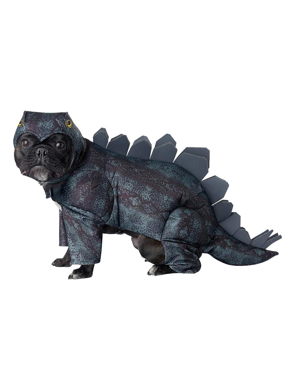 A dog wearing a stegosaurus costume