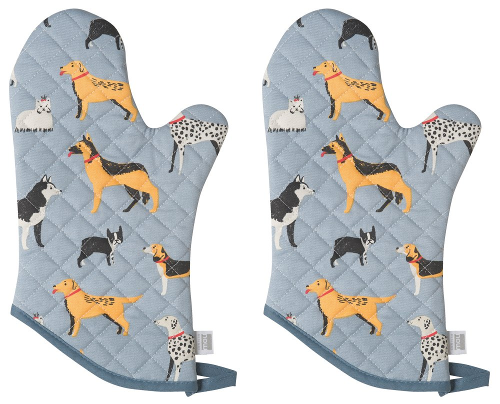Now Designs Basic Oven Mitt, Set of Two, Dog Days