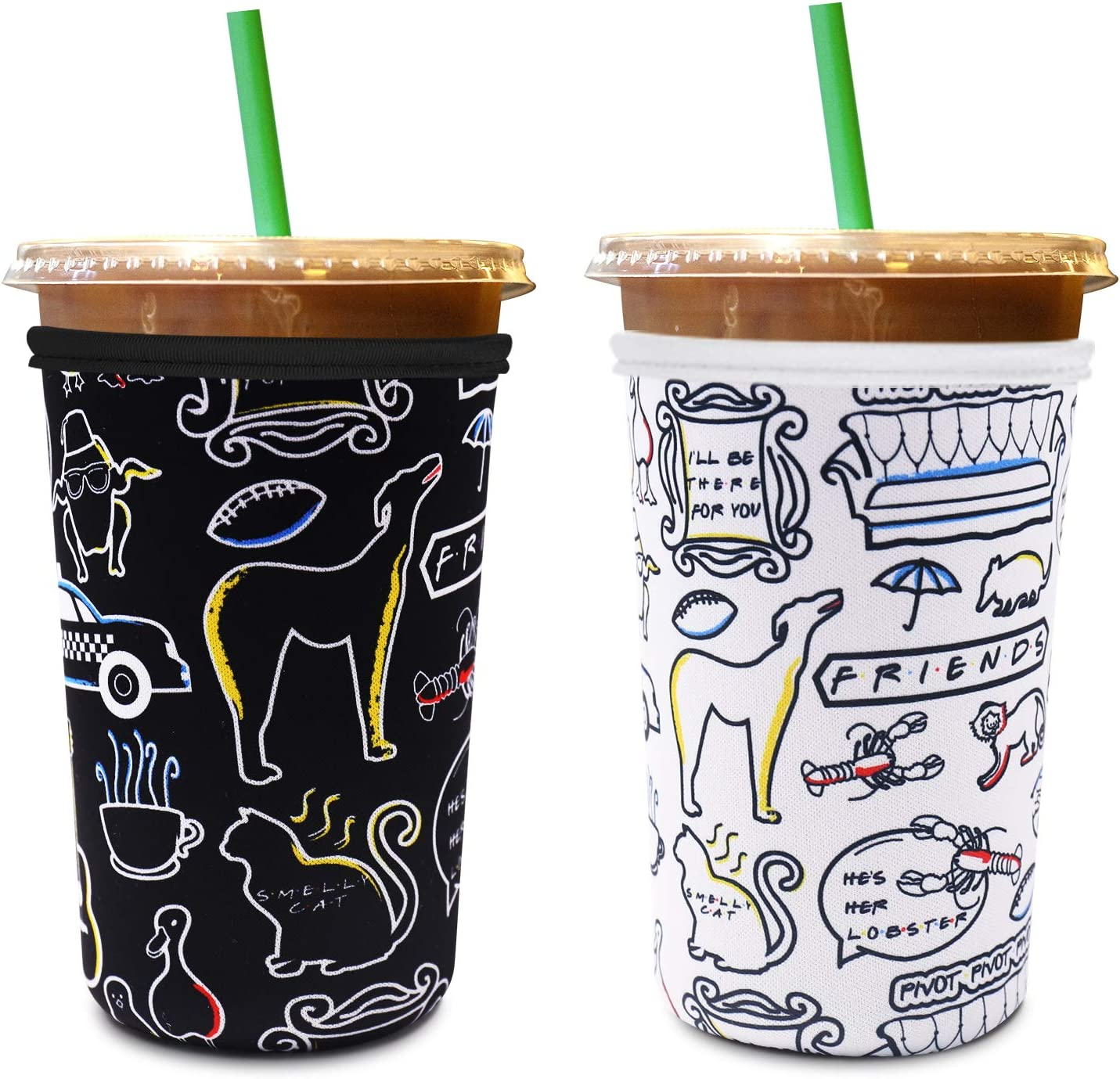 Reusable Friends Iced Coffee Sleeves White &Black Friends TV Show Neoprene Cup Cover Sleeve Beverages Insulator Holder for Starbucks, McDonalds, Dunkin Coffee 2-Pack