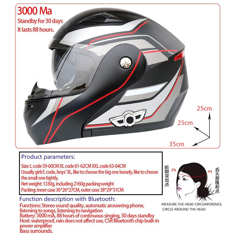 Casco moto adulto Bluetooth doppio obiettivo anti-fog Caschi moto Casco cross con caschi moto off-road FM