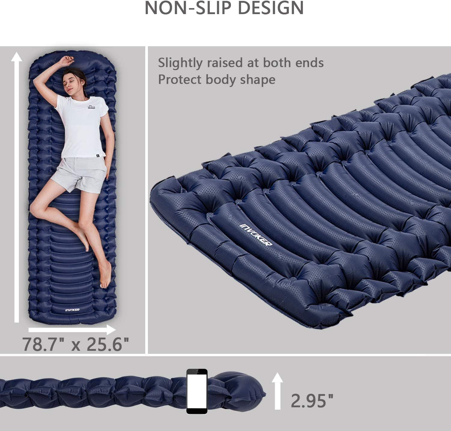 3inch UltraThick Air Mattress Inflatable Durable Fast Inflating in 25s Comfortable for Tent Backpacking Travel Hiking Self Inflating Memory Foam Camping Sleeping Mat Pad with Built in Pillow