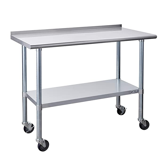 Stainless Steel Table for Prep & Work 24 x 48 Inches with Caster Wheels, NSF Commercial Heavy Duty Table with Undershelf and Backsplash for Restaurant, Home and Hotel