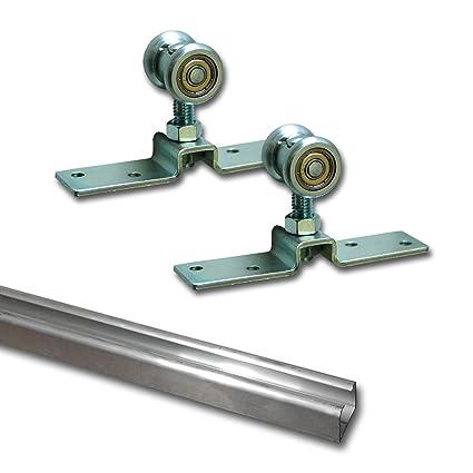 SET - Rodillo de ruedas para puertas correderas suspendidas hasta 55 kg diapositiva carril aluminio 2