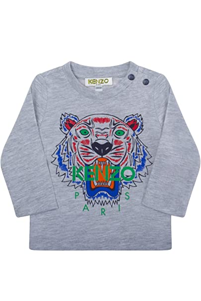 993805fe Kenzo Kids Baby Boy's Long Sleeves Tiger Tee Shirt (Infant) Marled Grey T-