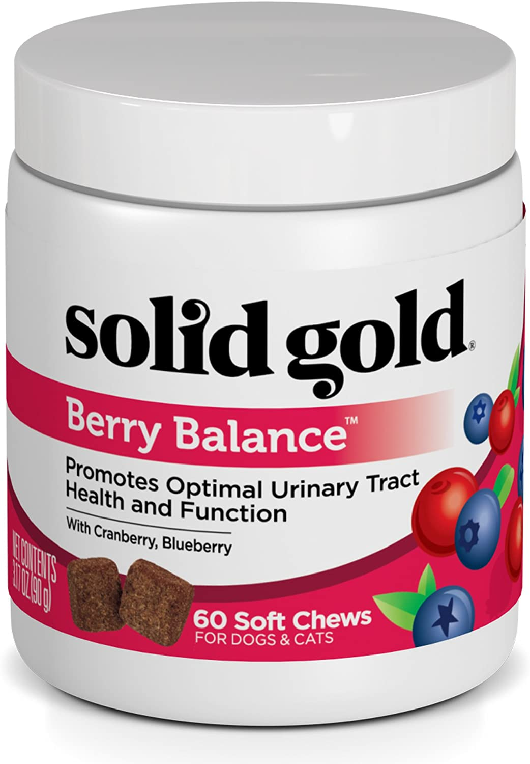 Solid Gold Dog & Cat Supplements for Urinary Tract Health and Testing; Berry Balance Chews and Powder with Antioxidant-rich cranberries plus pH Strips