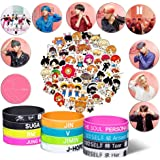 YFresh Bangtan Boys Gifts Set - 63 Laptop Stickers/ 12 Silicone Wrisbands Bracelets/10 Button Pins