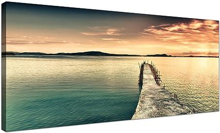 Wallfillers Large Toile murale d\'un lac Coucher de soleil pour votre  chambre à coucher – Tendance Paysage images sur toile – 1108