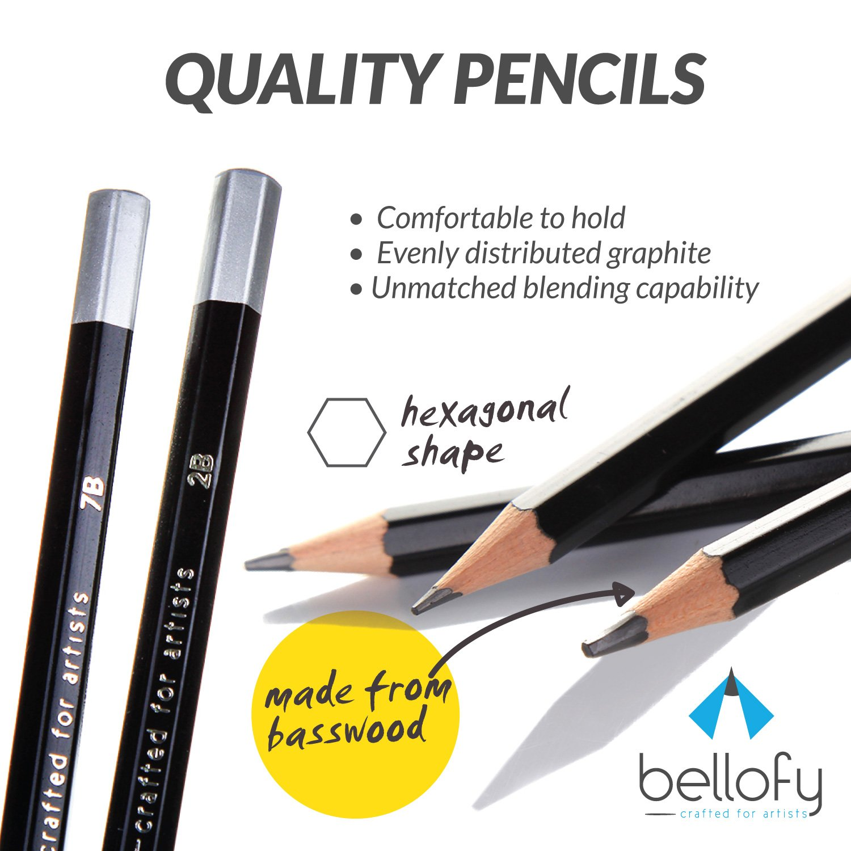 Bellofy 20 Sketching Pencils Complete Professional Graphite Pencil