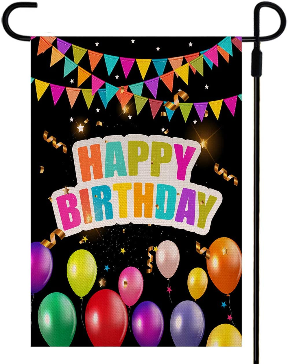 Yileqi Happy Birthday Garden Flag Yard Signs, Burlap Double Sided Readable Lawn Signs for Outdoor Decorations, Yard Flag 12.5 x 18 inch Birthday Banner for Party Celebration (Birthday)