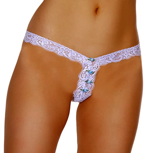 4fed6a3c1 LoveFifi Women s The Bare Minimum Lace G-String (Set of 2(1 White 1 ...