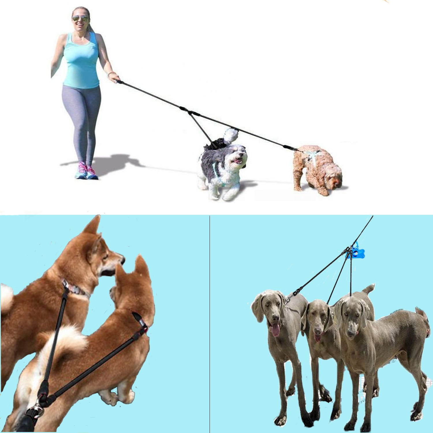 Heavy Duty Dual Dog Leash /Triple Dog Leash,360°Swivel No Tangle Double Dog Walking Training Leash,2-way&3-way interchangeable Lead with Hand-protected Handle Waste Bag Dispenser for Two/Three Dogs by SonQueen (Image #8)