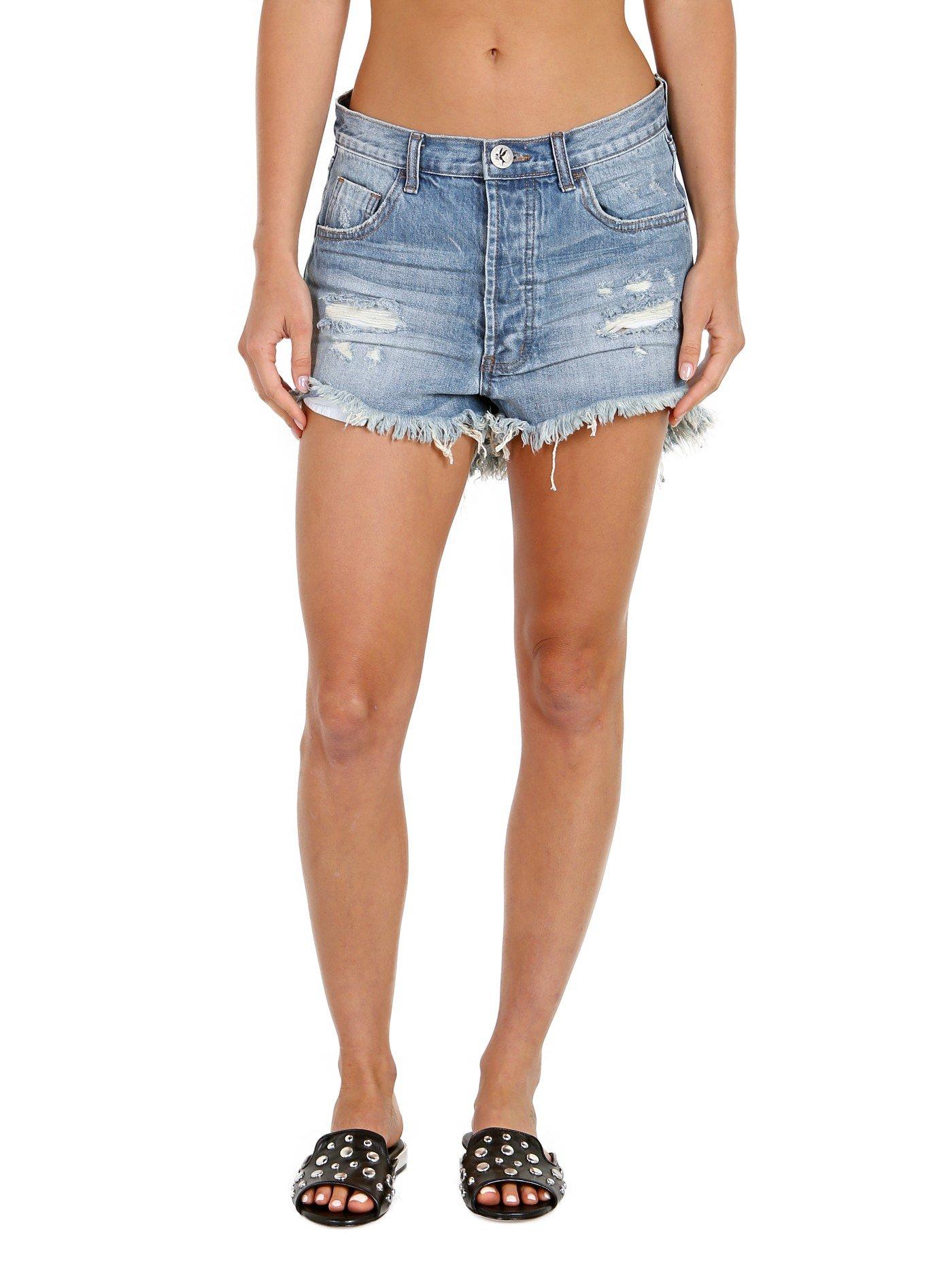 One Teaspoon Women's Outlaws Shorts, Johnnie Blue, 25