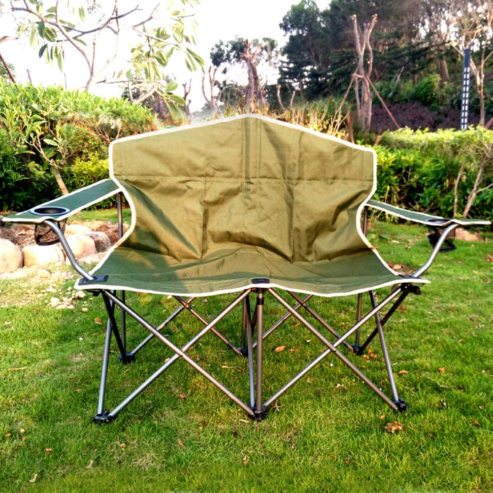 Double Camping Chair, Outdoor Folding Lounge Chair with Cup Holder, Portable Balcony Chaise Lounge Garden Beach Yard