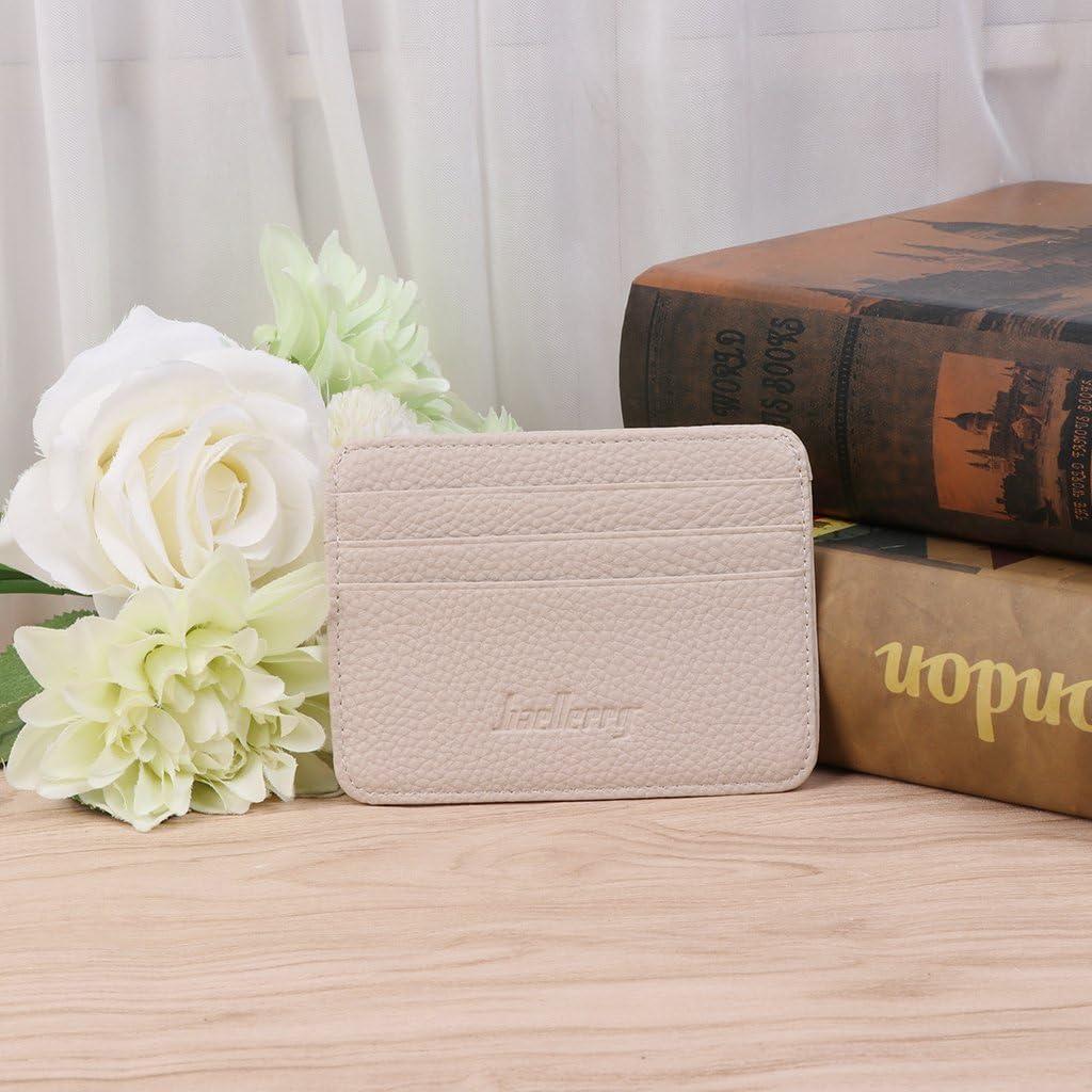 porte-monnaie en cuir mince portefeuilles Exing Porte-cartes de cr/édit pince /à billets beige