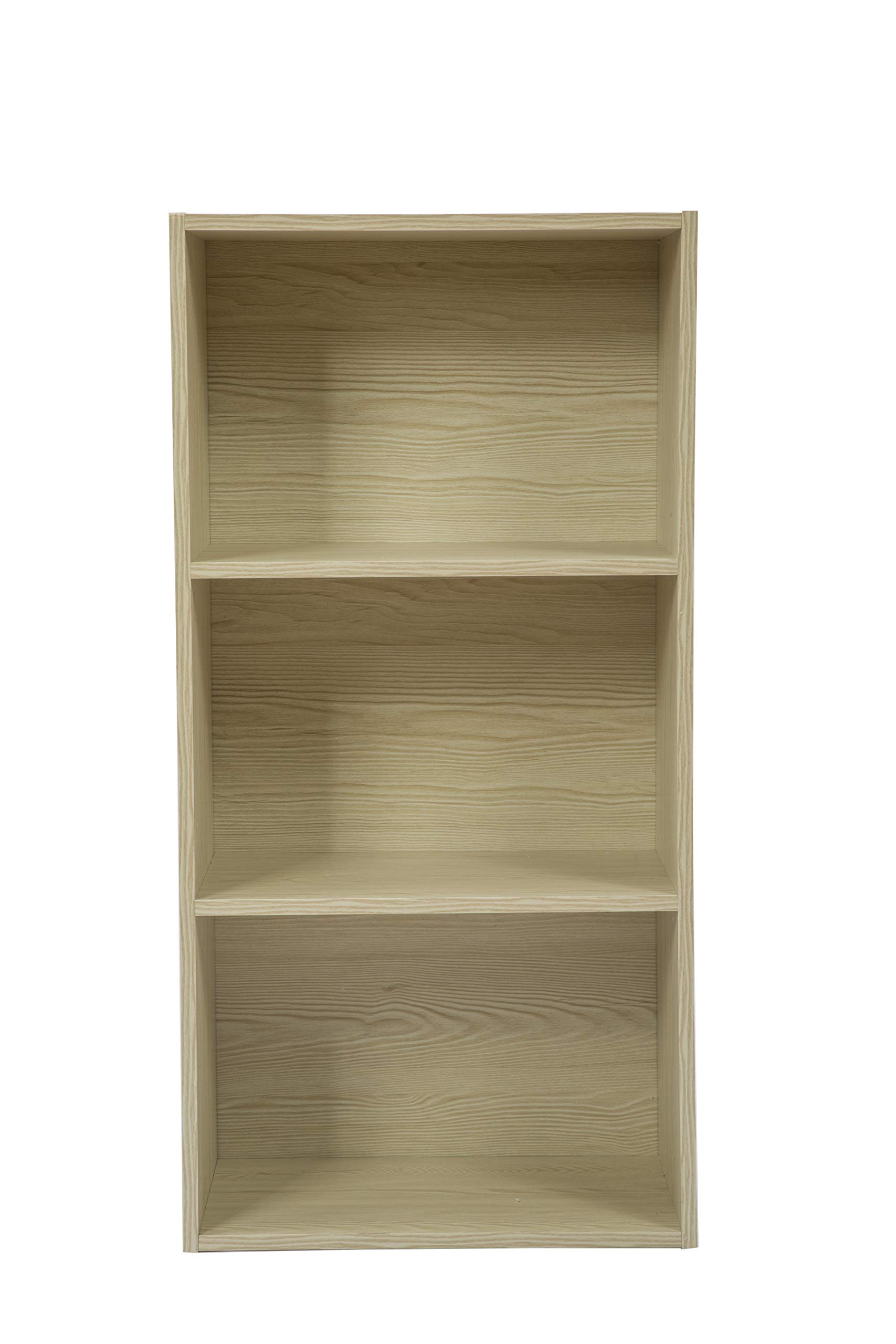 JEROAL 3-Shelf Wooden Bookshelf, 3 Cube Storage Organizer, Display Bookshelf Storage Organizer for Books, Pictures, Decorations, White Oak by JEROAL (Image #8)