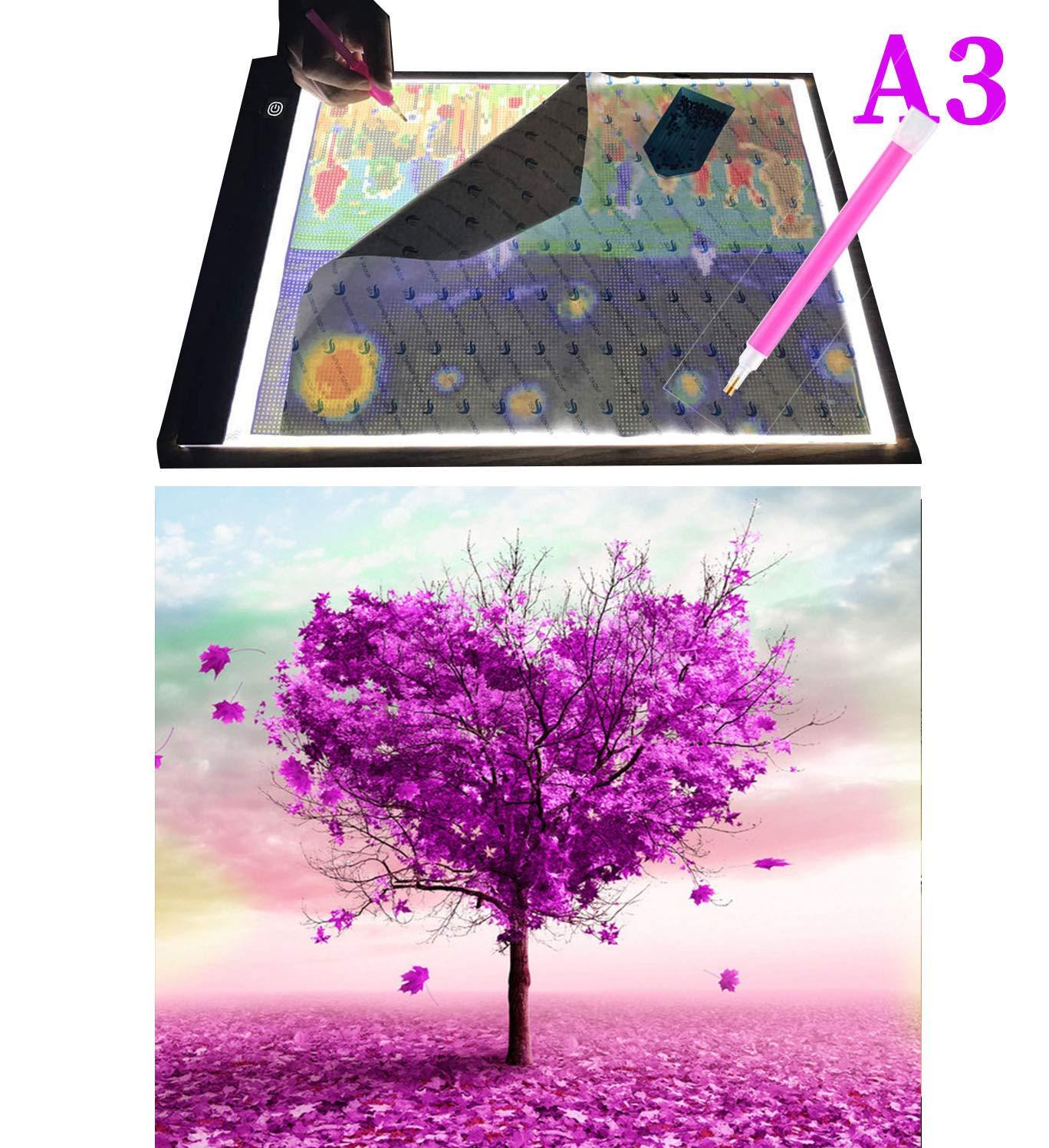 Drawing Sketching DIY Diamond Painting Diamond Painting Tool Set Diamond Embroidery Sorting Box 22Pieces Diamond Painting Tool Including A3 LED Light Pad