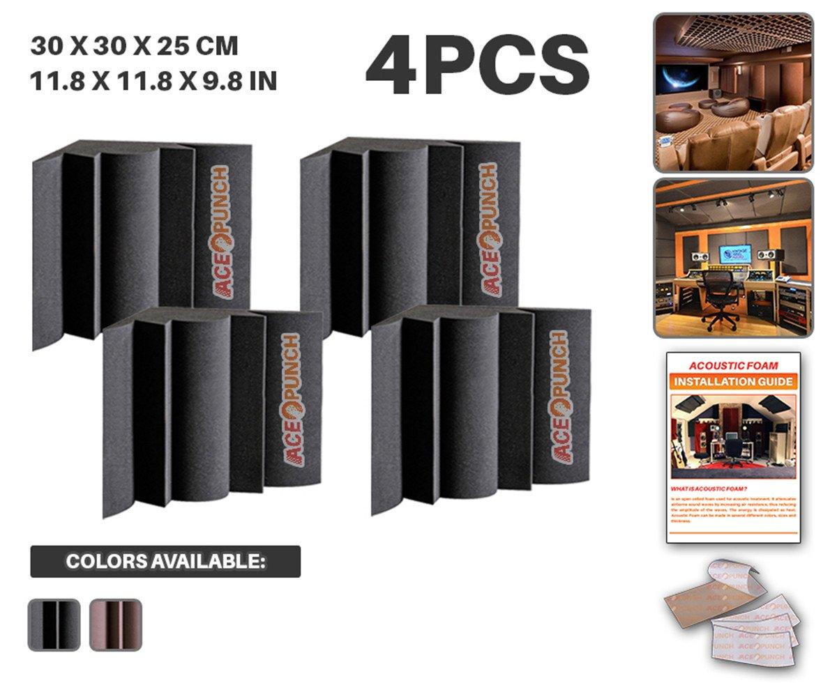 Ace Punch 4 Piezas NEGRO Trampa de Graves Aislamiento Acústica Estudios Profesionales Espuma Absorción Tratamiento Conjunto Libre Cinta Adhesiva 30 x 30 x 25 cm AP1036
