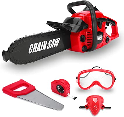 Kids Children Pretend Play Rotating Electric Orange Chainsaw Toy with Sound