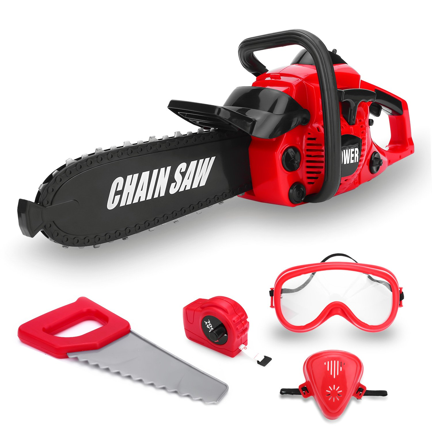 Kids Size Power Construction Yard Toy Pack Tool Big Play Realistic Chainsaw with Sound, Toddlers Pretend Play Yardwork Lawn Equipment Giant Plastic Chains Saw for Boys Garden Tool by Toy Choi's