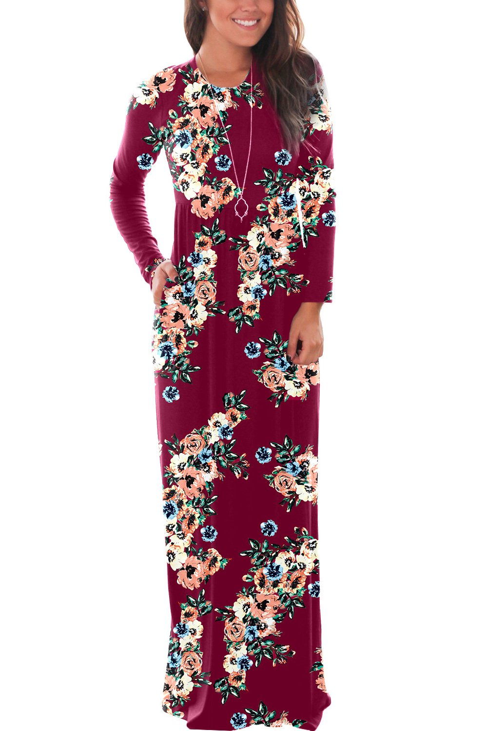 DawnRaid Swing Maxi Dresses Long Sleeve Long Casual Dresses for Women Full Length Floral Dress