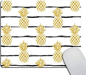Smooffly Mousepad Pineapple Mouse pad Stripped Mousepads Fruits Square Mouse pad Mouse mat Desk Accessories Table Decor Office Supplies Room