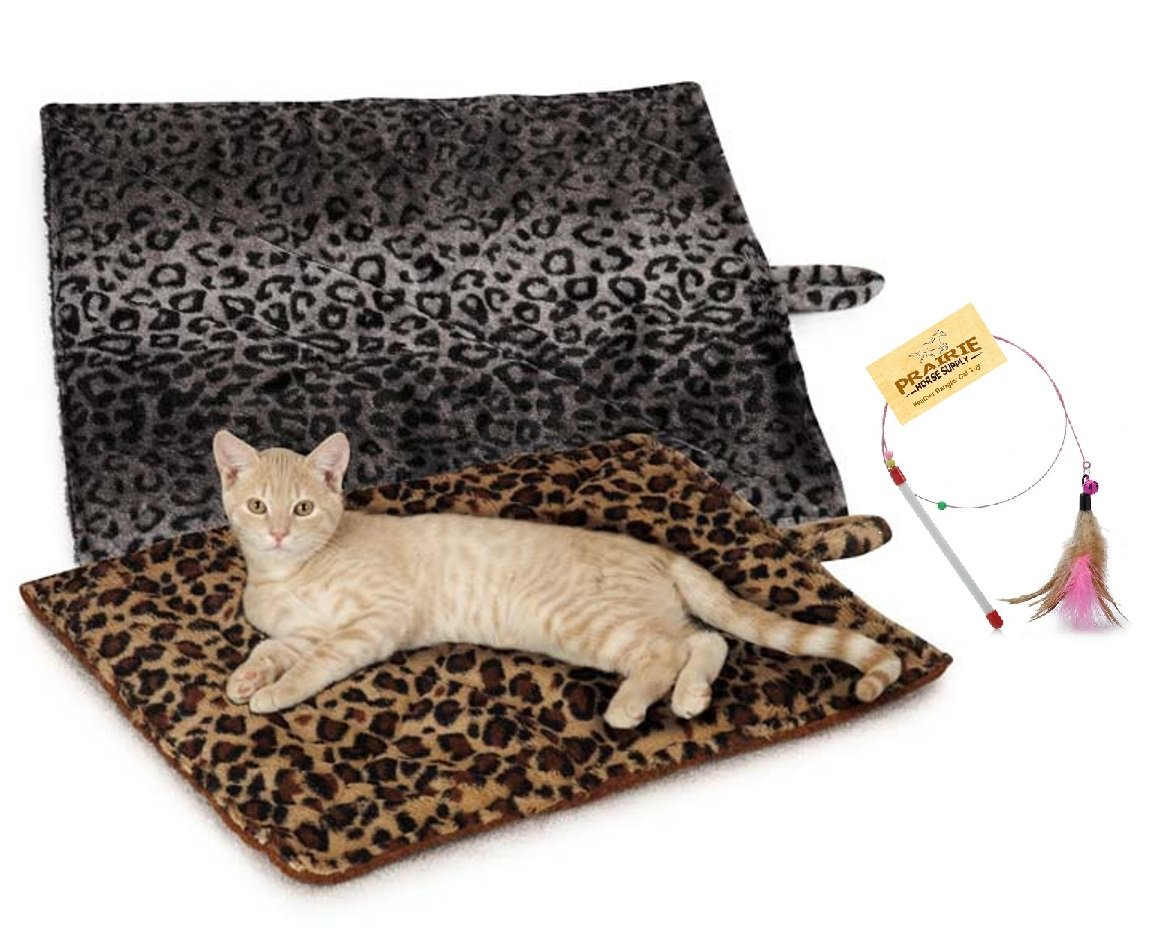 Grey 4 Mats Grey 4 Mats Prairie Horse Supply Quality Thermal Cat Mat + Free Cat Toy, Cozy Self Heating Warming Kitty Bed, Reversible Washable Pad, No Electricity colors  Beige or Grey Quantity  1, 2, 3, or 4 Mats