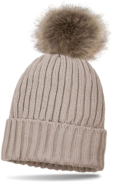 7cb7bb9b0fa styleBREAKER knitted beanie with large fur pompom and perl rip pattern