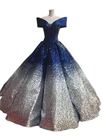 Mollybridal Ombre Quinceanera Prom Dresses with Sleeve Ball Gowns Evening Formal Dress Navy/Sliver 0