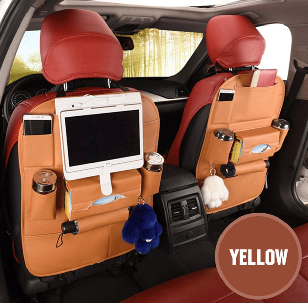 Universal Car Organizer for Storeage Bottles,Tissue Box,Toys,Umbrella and many other Stuff Woworld Upgraded 9 Pockets PU Leather Car Seat Back Organizer Kick Protect Ipad Holder Iphone Holder Brown