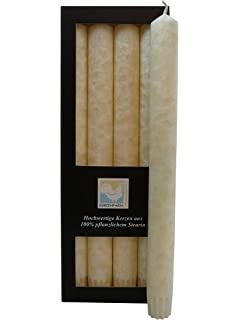 Stearin-Leuchterkerzen 4er-Pack champagner Bio-Kerzen