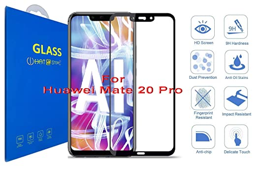 What@Store Huawei Mate 20 Pro - 3D Curved Tempered Glass, 3D Edge to Edge  Full Coverage Screen Protector for Huawei Mate 20 Pro (Black)