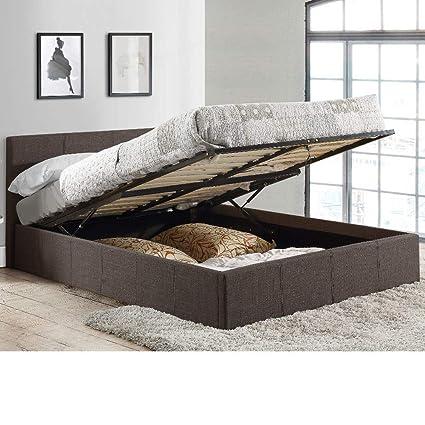 Happy Beds Berlin Cama otomana de tela gris, moderna, colchones, de almacenamiento,