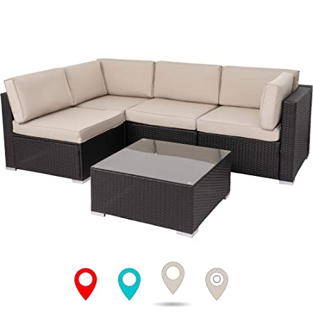 Walsunny Outdoor Black Rattan Sectional Sofa- Patio Wicker Furniture Set with Tea Table Washable Couch Cushions Khaki
